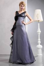 V Neck Floor Length Silver Mother Of The Bride Dress Cheap