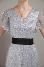 Short Sleeves Silver Sequin Fabric Mother of the Bride Dress