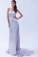 Fashionable Strapless Silver Evening Dress For Cheap