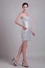 Flaring Silver Sequin Fabric Sexy Cocktail Dress New Style