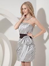 Grey Column Strapless Prom Mini Dress With Black Sashes