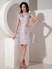 V-neck Pleats Silver Mother Of The Bride Dress With Jacket