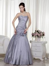 Silver Taffeta Floor Length Handmade Evening Dress Cheap