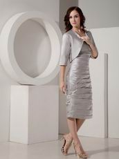 V Neck Grey Mother of the Bride Short Dress With Jacket
