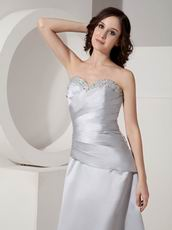 Gray Tea Length Taffeta Mother Of The Bride Dress