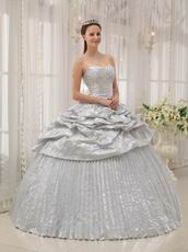 New Arrival Shiny Silver Corset Pleated Bulging Gown Quinceanera Party Wear