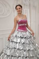 Flaring Layers Cascade Trimed Skirt Silver Quinceanera Dress