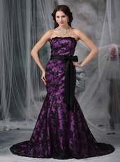 Purple Strapless Mermaid Petite Prom Gown With Black Lace Inexpensive