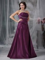 Strapless A-line Dark Purple Cache Prom Dress For Sale Inexpensive
