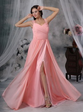 Watermelon Chiffon Pleat Prom Dress With Sexy High Split Inexpensive