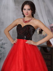 Red and Black Sequins Paillette Princess Prom Dress Cheap Inexpensive