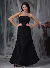A-line Strapless Black Taffeta Party Dress Affordable Inexpensive