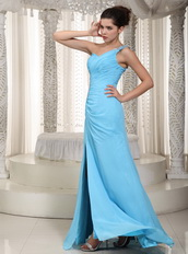 Aqua One Shoulder Chiffon Fabric Prom Dress With Right Side Split Inexpensive