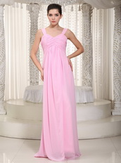 Baby Pink Chiffon Fabric Wide Straps Simple Dress For Prom Wear Inexpensive