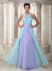 Aqua Blue and Lavender Chiffon 2013 Prom Dress V Neckline Inexpensive