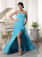 Aqua Blue High Side Slit Prom Party Dress By Top Designer Inexpensive