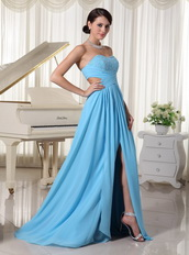 Aqua Blue High Slit Decorate Bust Prom Dress For Custom Made Inexpensive