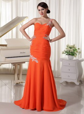 Appliques One Shoulder Orange Red Sheath Mermaid Skirt Dress Prom Inexpensive