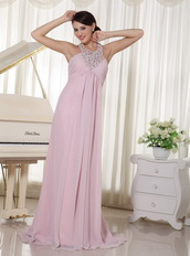 Baby Pink Chiffon 2013 Prom Dress With Halter Top Long Skirt Inexpensive