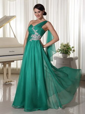 2014 Best Seller Side Zipper Prom Dress Turquosie One Shoulder Skirt Inexpensive