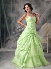 Apple Green A-line Embroidery Prom Dress Cheap Price Inexpensive