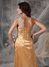 Inexpensive One Shoulder Long Gold Prom Dress For Lady Inexpensive