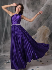 Purple One Shoulder Floor-length Elastic Woven Satin Prom Dress Inexpensive