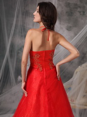 High Quality Low Price Red Halter Prom Dress With Beading Inexpensive