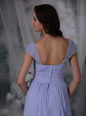 Lavender Chiffon Prom Dress With Beaded Wide Straps Inexpensive