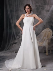 Asymmetrical Halter Neck White Chiffon Prom Dress For Sale Inexpensive