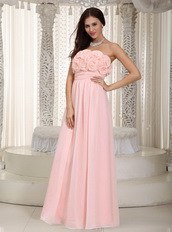Baby Pink Chiffon Prom Dress With Rosette Flowers Bodice Inexpensive