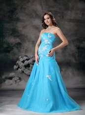 Aqua Blue Mermaid Strapless Organza Appliqued Evening Dress Inexpensive