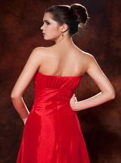 Cheap Red Taffeta Zipper Back Prom Dress Best Seller Inexpensive
