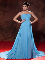 Aqua Blue Chiffon Party Celebrity Dress With Court Train Inexpensive
