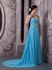 Aqua Blue Chiffon Beading Prom Dress Skirt And Court Train Inexpensive