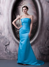 Aqua Blue Column Strapless Elastic Woven Satin Lady Prom Dress Inexpensive