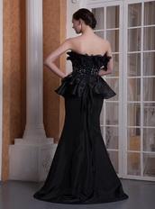 Black Mermaid Strapless Ruffles Neck Prom Gowns Dress Petite Inexpensive