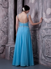 Aqua Blue Empire Prom Dress Straps Long Chiffon Skirt Inexpensive
