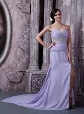 Beaded Lavender Chiffon Prom Dress With Sexy Side Split Inexpensive