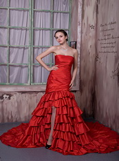 Scarlet Red Taffeta Ruffled Layers Slit Skirt Prom Dress Cathedral Train Inexpensive