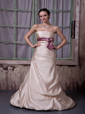 Champagne Strapless Celebrity Party Dress With Lilac Ribbon Inexpensive