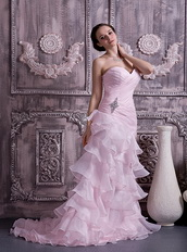Baby Pink Sweetheart Ruffles Layers Skirt Prom Dress For Sale Inexpensive