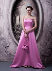 Rose Pink Strapless A-line Silhouette Bowknot Back Simple Prom Dress Inexpensive