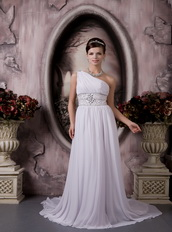 Customize One Shoulder Floor Length Chiffon Beaded Prom Dress Inexpensive