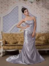Grey Silver Elastic Woven Satin Celebrity Dress With Mermaid Skirt Inexpensive