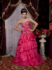 Fuchsia Sweetheart Taffeta Layers Floor Length Skirt Dress For Party Inexpensive