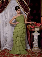 One Shoulder Olive Green Chiffon Ruffles Layers Long Skirt Dress Inexpensive