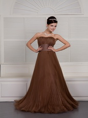 Brown A-line Sweetheart Ruch Skirt Evening Dress For Women Wear Inexpensive