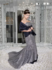 Mermaid Strapless Silver Sequin and Navy Taffeta Sash Prom Dress Inexpensive
