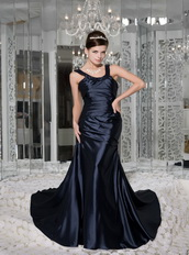 Navy Blue Empire Scoop Bead Prom / Evening Dress For Sexy Lady Inexpensive